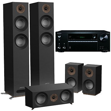 Onkyo TX-NR575E Noir + Jamo S 807 HCS Noir Ampli-tuner Home Cinéma 7.2, Multiroom, Wi-Fi Dual Band, Bluetooth, AirPlay, Chromecast, DTS Play-Fi, HDMI 4K, Hi-Res Audio, DTS:X et Dolby Atmos + Pack d'enceintes 5.0 compatible Dolby Atmos