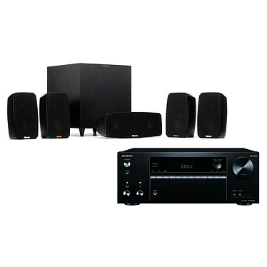 Onkyo TX-NR575E Noir + Klipsch Reference Theater Pack Ampli-tuner Home Cinéma 7.2, Multiroom, Wi-Fi Dual Band, Bluetooth, AirPlay, Chromecast, DTS Play-Fi, HDMI 4K, Hi-Res Audio, DTS:X et Dolby Atmos + Pack d'enceintes 5.1 avec caisson de basses sans fil