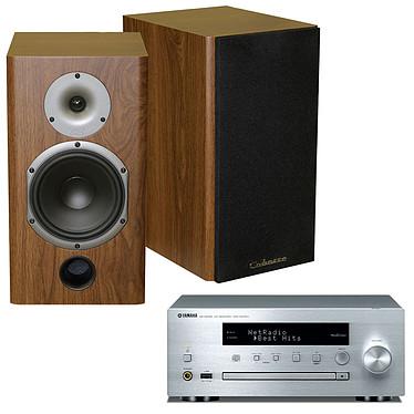 Yamaha MusicCast CRX-N470D Argent + Cabasse Antigua MT22 Noyer Mini-chaîne multiroom CD MP3 USB Wi-Fi Bluetooth et AirPlay avec MusicCast + Enceinte bibliothèque 75W (par paire)