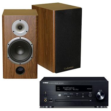 Yamaha MusicCast CRX-N470D Noir + Cabasse Antigua MT22 Noyer Mini-chaîne multiroom CD MP3 USB Wi-Fi Bluetooth et AirPlay avec MusicCast + Enceinte bibliothèque 75W (par paire)