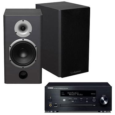 Yamaha MusicCast CRX-N470D Noir + Cabasse Antigua MT22 Noir Satin Mini-chaîne multiroom CD MP3 USB Wi-Fi Bluetooth et AirPlay avec MusicCast + Enceinte bibliothèque 75W (par paire)