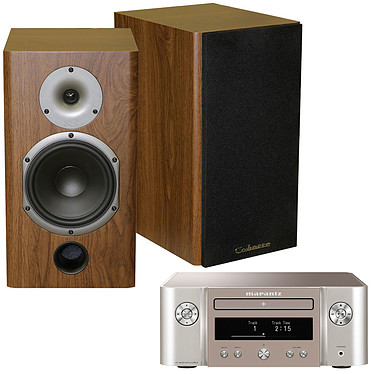 Marantz Melody X M-CR612 Argent/Or + Cabasse Antigua MT22 Noyer Mini-système stéréo réseau 2 x 60 Watts - Lecteur CD/CD-R/CD-RW - Tuner FM/DAB+ - Hi-Res Audio - Wi-Fi/Bluetooth - AirPlay 2 - Multiroom + Enceinte bibliothèque 75W (par paire)