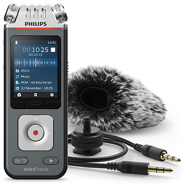 Philips DVT7110 Enregistreur audio numérique - Hi-Res Audio - 3 microphones - 8 Go - Slot MicroSD - Batterie intégrée - Wi-Fi + Accessoires