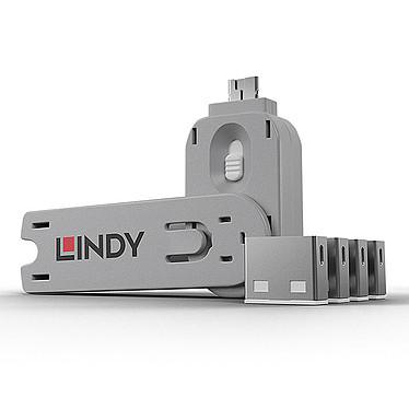 Lindy Kit de blocage pour ports USB-A Lot de 4 bloqueurs de ports USB-A et 1 clé