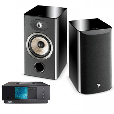 Naim Uniti Atom + Focal Aria 906 Black High Gloss Amplificateur réseau stéréo 2 x 40 Watts - DAC Burr-Brown - Wi-Fi/Bluetooth - Google Cast Audio/AirPlay - Multiroom - USB/HDMI ARC + Enceinte bibliothèque (par paire)