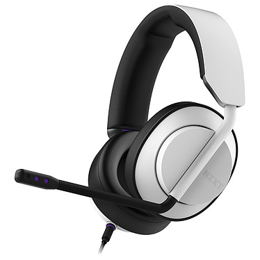 NZXT AER Headset Blanc Casque gaming filaire - Circum-aural fermé - Hi-Res Audio - Micro amovible certifié Discord - Compatible PC / Xbox / PS4 / Switch
