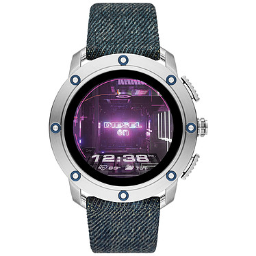Diesel On Axial Gen.5 (48 mm / Tissu / Bleu) Montre connectée - Étanche 30 m - GPS - Cardiofréquencemètre - Écran AMOLED - Bluetooth 4.2/NFC - Wear OS - Boitier de 48 mm - Bracelet tissu