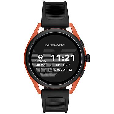 """Emporio Armani Connected Smartwatch 3 Gen.5 (44.5 mm / Caoutchouc / Noir et Orange) Montre connectée - Étanche 30 m - GPS - Cardiofréquencemètre - Écran AMOLED de 1.28"""" - 416 x 416 pixels - Bluetooth 4.2/NFC - Wear OS - Boitier de 44.5 mm - Bracelet caoutchouc"""