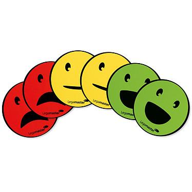 Legamaster Emoticône Magnétique Assortiment Lot de 6 aimants pour tableau blanc - Visages souriants, neutres, tristes - 50 mm