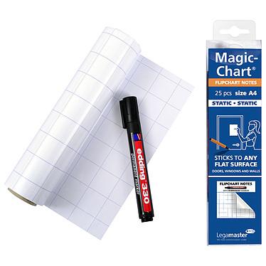 Legamaster Magic-Chart Flipchart Notes A4 Lot de 25 feuilles électrostatiques blanches quadrillées A4 avec marqueur permanent