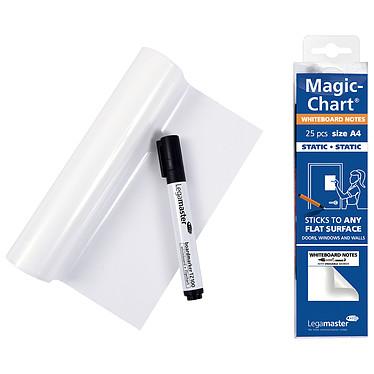 Legamaster Magic-Chart Whiteboard Notes A4 Lot de 25 feuilles électrostatiques blanches A4 avec marqueur effaçable
