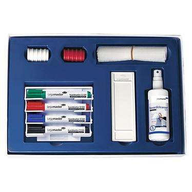 Legamaster Jeu d'accessoires de base pour tableau blanc magnétique Lot comprenant 4 marqueurs de couleurs différentes, 1 porte-marqueurs magnétique, 1 brosse, 10 papiers pour brosse, 1 spray nettoyant et 10 aimants de 30 mm