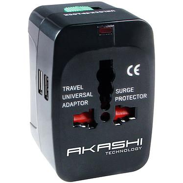 Akashi Adaptateur Universel de voyage 150 Pays avec 2 ports USB Adaptateur universel de voyage 150 pays avec 2 ports USB