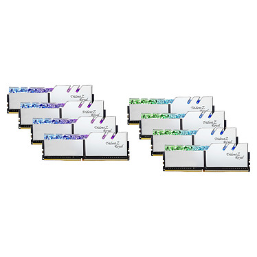 G.Skill Trident Z Royal 256 Go (8 x 32 Go) DDR4 2666 MHz CL18 - Argent Kit Quad Channel 8 barrettes de RAM DDR4 PC4-21300 - F4-2666C18Q2-256GTRS avec LED RGB