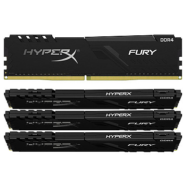HyperX Fury 32 Go (4x 8 Go) DDR4 3600 MHz CL17 Kit Quad Channel 4 barrettes de RAM DDR4 PC4-28800 - HX436C17FB3K4/32