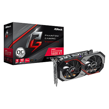 ASRock Radeon RX 5600 XT Phantom Gaming D2 6G OC 6 Go GDDR6 - HDMI/Tri DisplayPort - PCI Express (AMD Radeon RX 5600 XT)