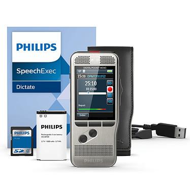 Philips DPM7200 Dictaphone numérique 8 Go avec deux microphones et slot SD