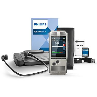 Philips DPM7700 Starter Kit Kit de dictée et de transcription avec dictaphone numérique 8 Go, deux microphones, slot SD et pédale de commande