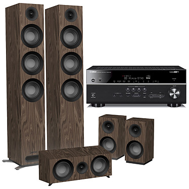 Yamaha HTR-6072 Noir + Jamo S 809 HCS Noyer Ampli-tuner Home Cinéma (equiv : RX-V685) 7.2 3D 90 W/canal - Dolby Atmos / DTS:X - 5 x HDMI - HDR - Bluetooth/Wi-Fi/AirPlay - MusicCast - Calibration YPAO - Zone 2 + Ensemble 5.0 compatible Dolby Atmos