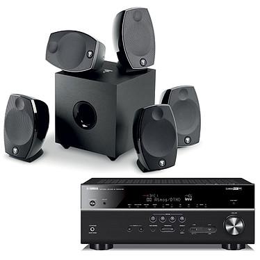 Yamaha HTR-6072 Noir + Focal Sib Evo 5.1 Ampli-tuner Home Cinéma (equiv : RX-V685) 7.2 3D 90 W/canal - Dolby Atmos / DTS:X - 5 x HDMI - HDR - Bluetooth/Wi-Fi/AirPlay - MusicCast - Calibration YPAO - Zone 2 + Ensemble 5.1