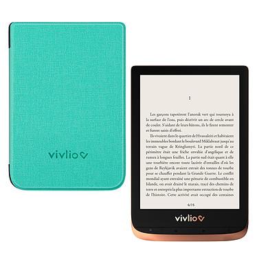 """Vivlio Touch HD Plus Cuivre/Noir + Pack d'eBooks OFFERT + Housse Chinée Verte Liseuse eBook Wi-Fi - Écran tactile HD 6"""" 1072 x 1448 - 16 Go - Portrait/Paysage - Résistante à l'eau - Pack eBooks offert + Housse de protection"""