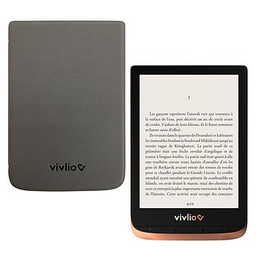 """Vivlio Touch HD Plus Cuivre/Noir + Pack d'eBooks OFFERT + Housse Grise Liseuse eBook Wi-Fi - Écran tactile HD 6"""" 1072 x 1448 - 16 Go - Portrait/Paysage - Résistante à l'eau - Pack eBooks offert + Housse de protection"""