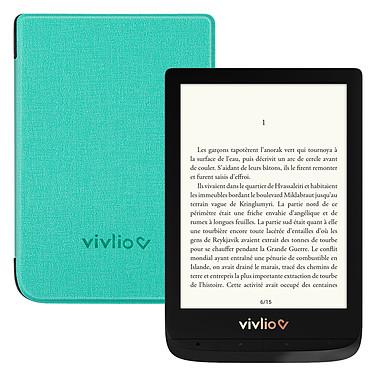 """Vivlio Touch Lux 4 Noir + Pack d'eBooks OFFERT + Housse Chinée Verte Liseuse eBook Wi-Fi - Écran tactile 6"""" 758 x 1024 - 8 Go - MicroSD - Pack eBooks offert + Housse de protection"""
