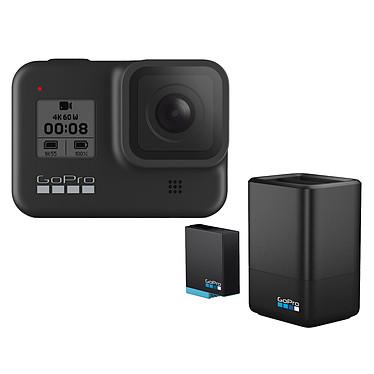 "GoPro HERO8 Black + Chargeur Double + Batterie Caméra sportive étanche 4K60p - Photo 12 MP HDR - Stabilisation HyperSmooth 2.0 - Ralenti 8x - Ecran tactile 2"" - LiveStream 1080p - Contrôle vocal - Wi-Fi/Bluetooth - GPS - Fixation intégrée + Double chargeur avec batterie"