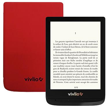"""Vivlio Touch Lux 4 Noir + Pack d'eBooks OFFERT + Housse Rouge Liseuse eBook Wi-Fi - Écran tactile 6"""" 758 x 1024 - 8 Go - MicroSD - Pack eBooks offert + Housse de protection"""