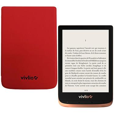 """Vivlio Touch HD Plus Cuivre/Noir + Pack d'eBooks OFFERT + Housse Rouge Liseuse eBook Wi-Fi - Écran tactile HD 6"""" 1072 x 1448 - 16 Go - Portrait/Paysage - Résistante à l'eau - Pack eBooks offert + Housse de protection"""