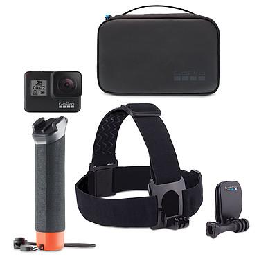 GoPro HERO7 Black + Kit Aventure Caméra sportive étanche 4K avec photo 12 MP HDR, stabilisation HyperSmooth, écran tactile, contrôle vocal, Wi-Fi, Bluetooth, GPS et QuikStories + Poignée flottante, fixation frontale, QuickClip et étui