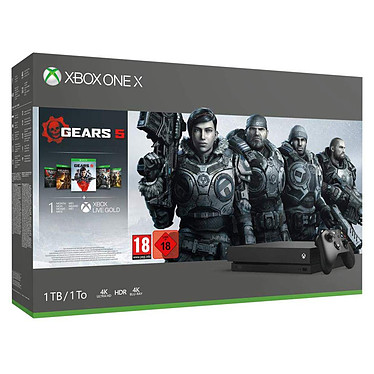Microsoft Xbox One X (1 To) + Gears 5 + Gears Collection Console 4K - lecteur Blu-Ray 4K Ultra HD - disque dur 1 To - 1 manette sans fil - jeu Gears 5 + Gears Collection