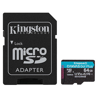 Kingston Canvas Go! Plus SDCG3/64GB Carte mémoire MicroSDXC UHS-I U3 V30 A2 64 Go + Adaptateur SD
