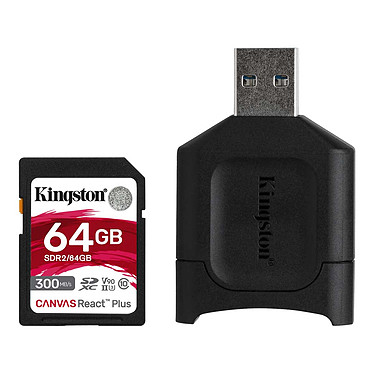 Kingston Canvas React Plus SDCR2/64GB Tarjeta de memoria SDXC UHS-II U3 de 64 GB con unidad USB