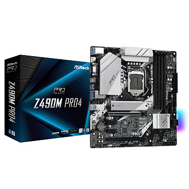 ASRock Z490M PRO4 Carte mère Micro ATX Socket 1200 Intel Z490 Express - 4x DDR4 - SATA 6Gb/s + M.2 PCI-E NVMe - USB 3.1 - 2x PCI-Express 3.0 16x