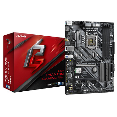 ASRock Z490 Phantom Gaming 4/ac Carte mère ATX Socket 1200 Intel Z490 Express - 4x DDR4 - SATA 6Gb/s + M.2 PCI-E NVMe - USB 3.1 - 2x PCI-Express 3.0 16x - Wi-Fi AC