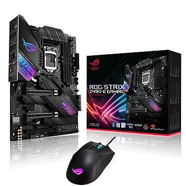 ASUS ROG STRIX Z490-E GAMING + ROG Gladius II Core Carte mère ATX Socket 1200 Intel Z490 Express + Souris Gamer RGB