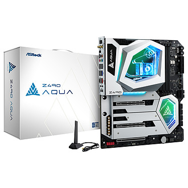 ASROCK Z490 AQUA Placa base E-ATX Socket 1200 Intel Z490 Express - 4x DDR4 - SATA 6Gb/s M.2 PCIe NVMe - USB 3.1 - 3x PCI-Express 3.0 16x - 10 GbE - Wi-Fi 6 AX - CPU Waterblock integrada