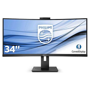 "Philips 34"" LED - 346P1CRH/00 3440 x 1440 pixels - 4 ms (gris à gris) - Format large 21/9 - Dalle VA incurvée - HDR - Webcam Full HD - DisplayPort - HDMI 2.0 - USB-C - Hub USB 3.0 - Noir"