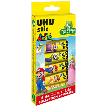 UHU Stic baton de colle Pack Collector 8 x 8.2 g Lot de 8 bâtons de colle de 8.2g - Edition Super Mario