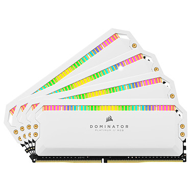 Corsair Dominator Platinum RGB 64 Go (4 x 16 Go) DDR4 3600 MHz CL18 - Blanc Kit Quad Channel 4 barrettes de RAM DDR4 PC4-28800 - CMT64GX4M4K3600C18W