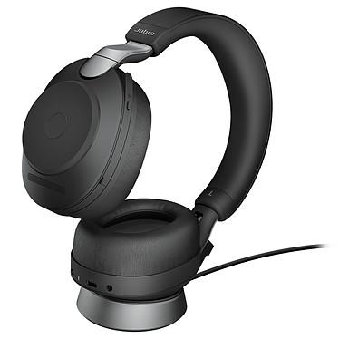 Jabra Evolve2 85 Link380C MS Stéréo + Charge Micro-casque sans fil stéréo professionnel - Bluetooth - réduction de bruit active - USB-C - certifié Microsoft Skype - socle de charge