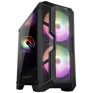 """Abkoncore H600X Sync Caja PC mediana con panel frontal """"nido de abeja"""", panel lateral de vidrio templado e iluminación ARGB"""