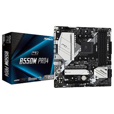 ASRock B550M Pro4 Carte mère Micro ATX Socket AM4 AMD B450 - 4x DDR4 - SATA 6Gb/s + M.2 PCI-E NVMe - USB 3.1 - PCI-Express 4.0 16x