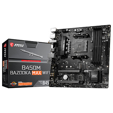 MSI B450M BAZOOKA MAX WIFI Carte mère Micro ATX Socket AM4 AMD B450 - 4x DDR4 - SATA 6Gb/s + M.2 - USB 3.0 - 1x PCI-Express 3.0 16x
