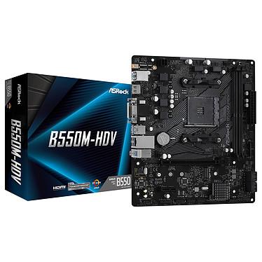 ASRock B550M-HDV Carte mère Micro ATX Socket AM4 AMD B550 - 2x DDR4 - SATA 6Gb/s + M.2 PCI-E NVMe - USB 3.0 - PCI-Express 4.0 16x