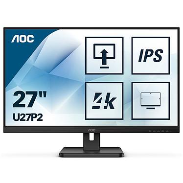 """AOC 27"""" LED - U27P2 3840 x 2160 pixels  - 4 ms (gris à gris) - Format 16/9 - Dalle IPS - Pivot - HDMI/DisplayPort - Hub USB 3.0 - Haut-parleurs - Noir"""