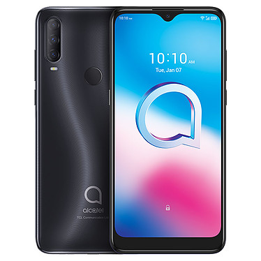 "Alcatel 3L Noir Smartphone 4G LTE Dual SIM - MediaTek MT6762 8-Core 2.0 GHz - RAM 4 Go - Ecran tactile 6.22"" 720 x 1520 - 64 Go - Bluetooth 5.0 - 4000 mAh - Android 10"
