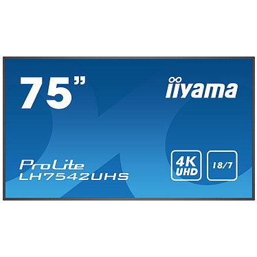 "iiyama 74.5"" LED - ProLite LH7542UHS-B1 3840 x 2160 pixels 16:9 - IPS - 1400:1 - 500 cd/m² - 8 ms - Android OS - HDMI/VGA/DVI/DisplayPort - Ethernet - Haut-parleurs intégrés - 18/7 - Noir"