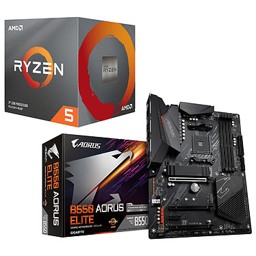 Kit Upgrade PC AMD Ryzen 5 3600 Gigabyte B550 AORUS ELITE Carte mère Socket AM4 AMD B550 + AMD Ryzen 5 3600 Wraith Stealth (3.6 GHz / 4.2 GHz)